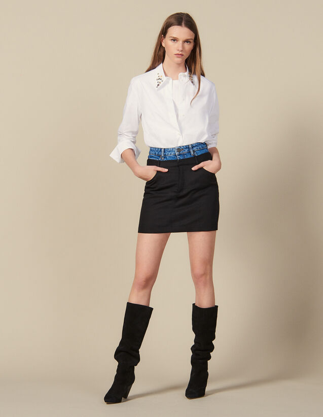 Short trompe l œil effect skirt : FBlackFriday-FR-FSelection-50 color Black