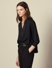 Blouse with a guipure insert : Tops & Shirts color Black