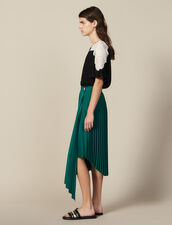 Wraparound Pleated Asymmetric Skirt : null color Green