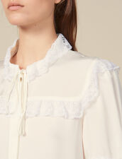 Lace embellished blouse : Copy of VP-FR-FSelection-Tops&Chemises color Ecru
