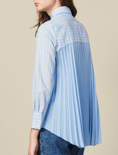 Asymmetric Shirt With Pleated Inset : LastChance-ES-F50 color Blue sky