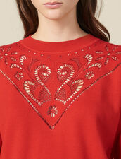 High-Neck Sweater With Front Panel : Copy of VP-FR-FSelection-Pulls&Cardigans color Red