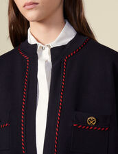 Straight cardi coat with printed lining : Sweaters & Cardigans color Navy Blue