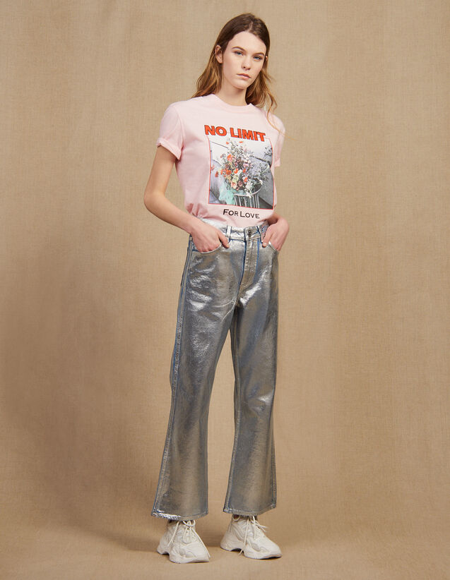 High-Waisted Coated Flared Jeans : LastChance-FR-FSelection color Silver