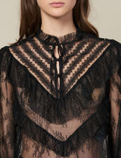Lace top with ruffles : LastChance-ES-F40 color Black