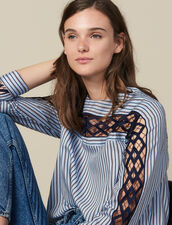 Poplin and guipure lace top : FBlackFriday-FR-FSelection-40 color Blue sky