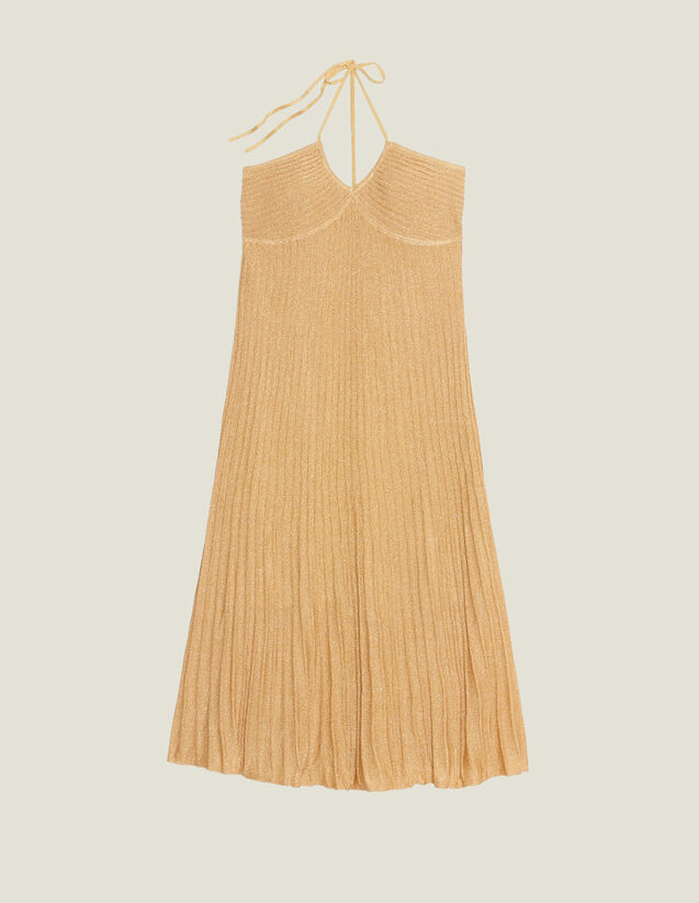 Long Dress In Pleated Lurex Knit : All Selection color Gold