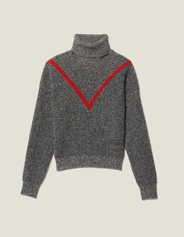 Roll Neck Marled Knit Sweater : Sweaters & Cardigans color Grey