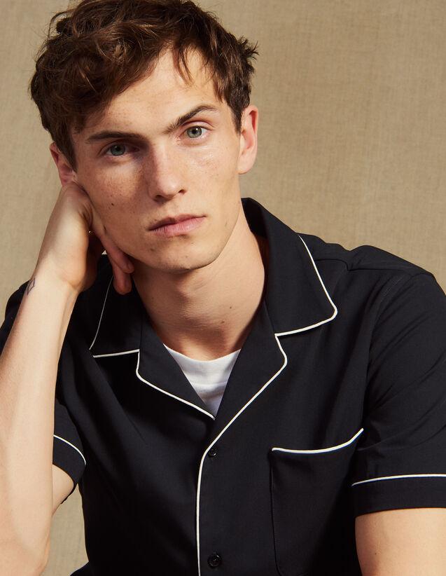 Asymmetrical Pyjama-Style Shirt : Shirts color Navy Blue
