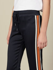 Jersey Jogging Bottoms With Stripes : Copy of Pants and Jeans color Navy Blue