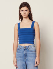 Cropped Knit Top : Tops & Shirts color Blue Jean