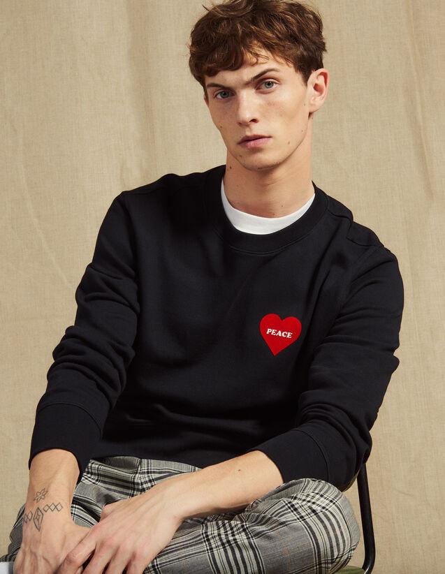 Cotton Sweatshirt With Flocked Heart : Sweatshirts color Navy Blue