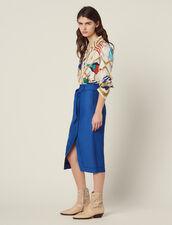 Belted Knee-Length Skirt : All Selection color Blue