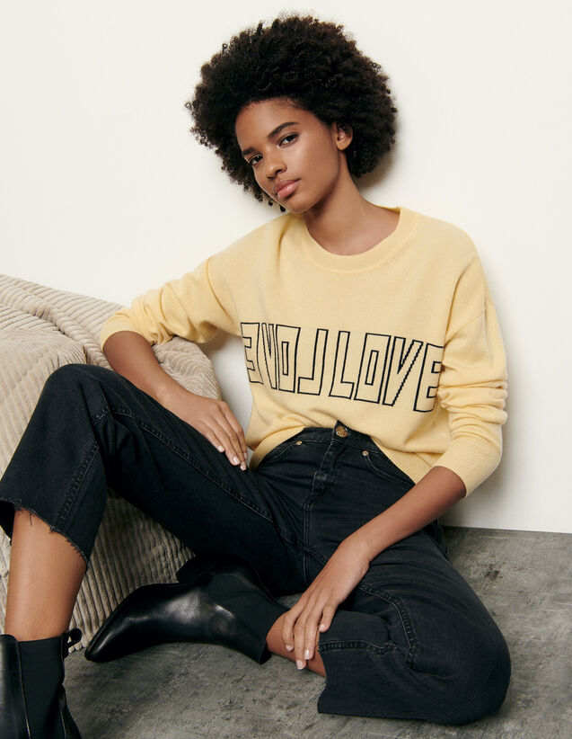 Wool and cashmere sweater with message : Sweaters & Cardigans color Yellow