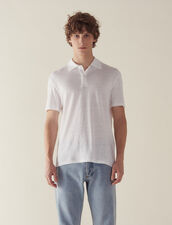 Short-Sleeved Linen Polo Shirt : All Selection color white