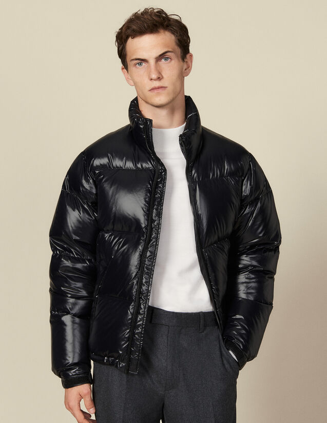 Shiny oversized padded jacket : Trench coats & Coats color Black