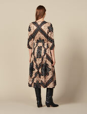 Low neck midi dress with block print : Dresses color Black