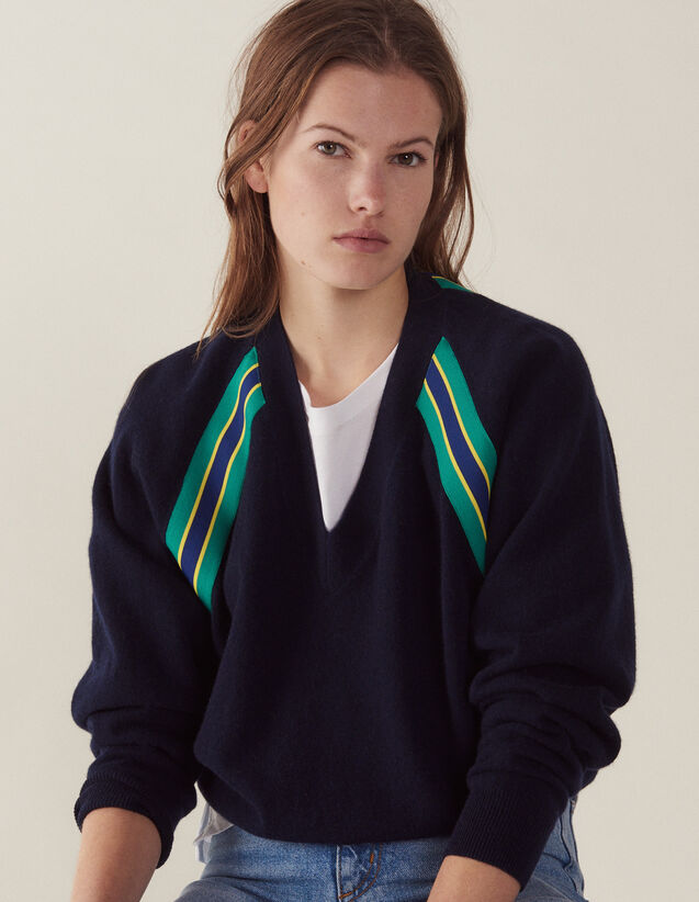 Long-Sleeved Sweater With Braid Trim : Sweaters & Cardigans color Navy Blue