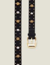 Belt Trimmed With Rivets And Rhinestones : Belts color Black