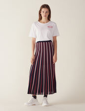 Long Knit Skirt With Pleats : All Selection color Navy Blue