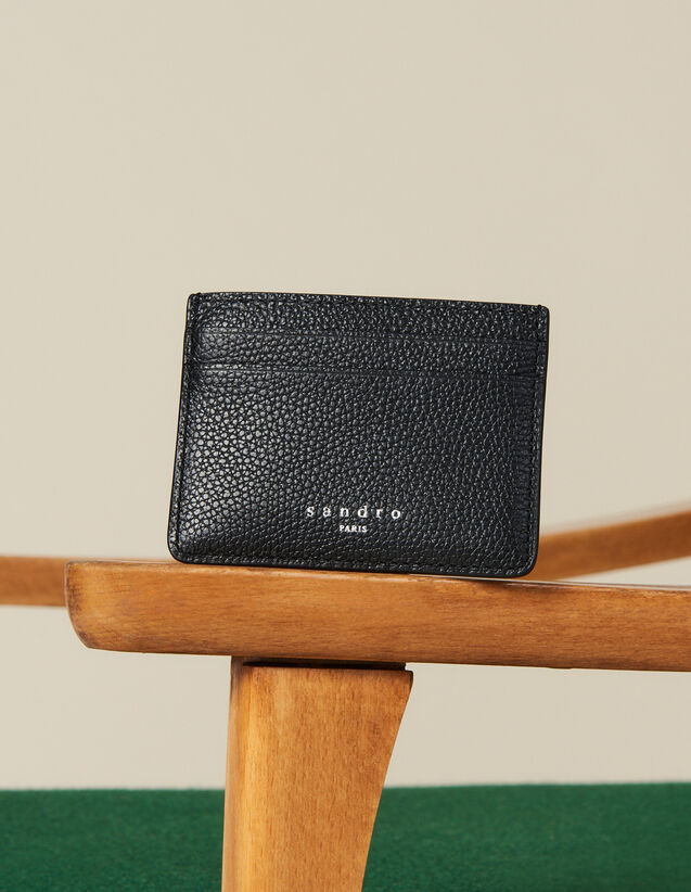 Grained Leather Card Holder : Winter Collection color Taupe