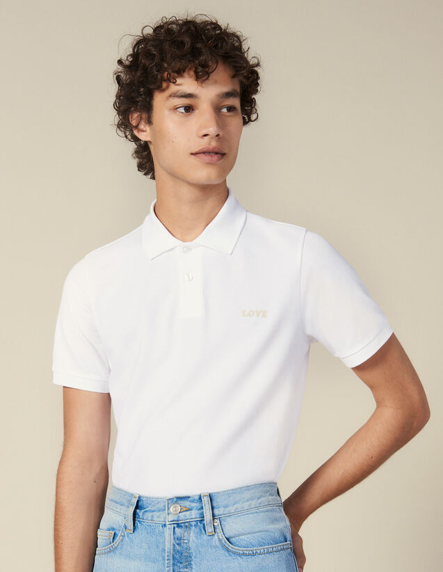 Cotton Polo Shirt With Lettering : Winter Collection color white