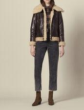 Sheepskin aviator jacket : LastChance-ES-F40 color Black Brown