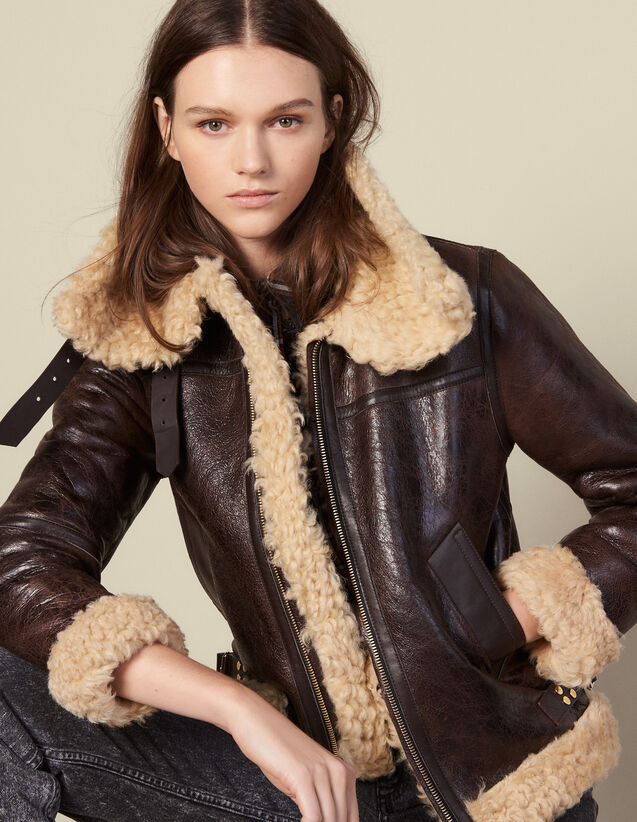 Sheepskin aviator jacket : Coats color black brown