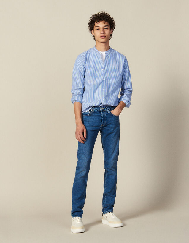 Striped Shirt With Mandarin Collar : All Winter collection color Blue/white