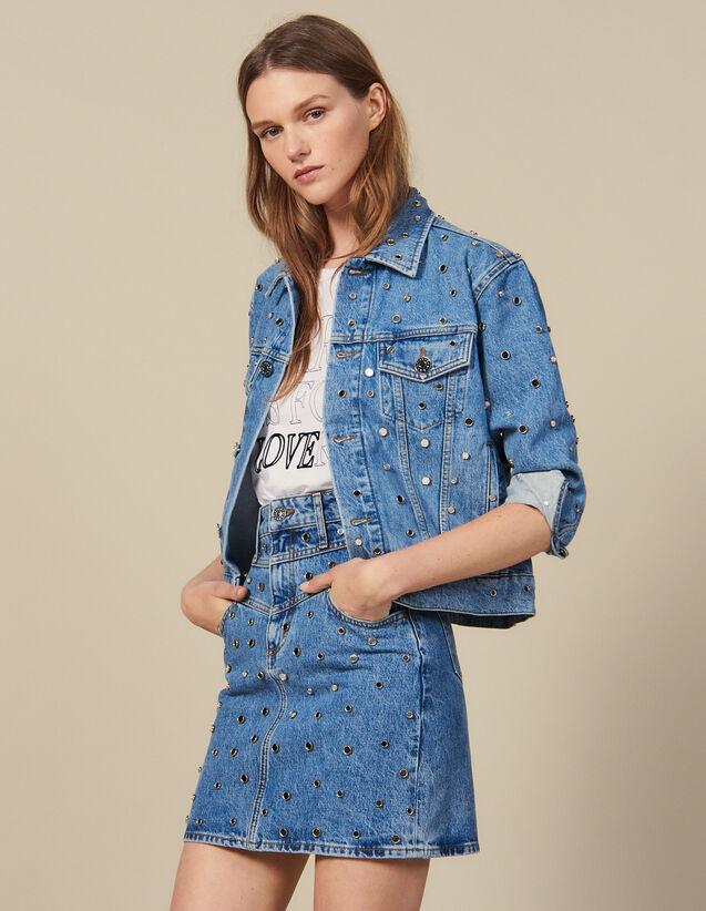 Short Denim Skirt Trimmed With Studs : Skirts & Shorts color Blue Jean
