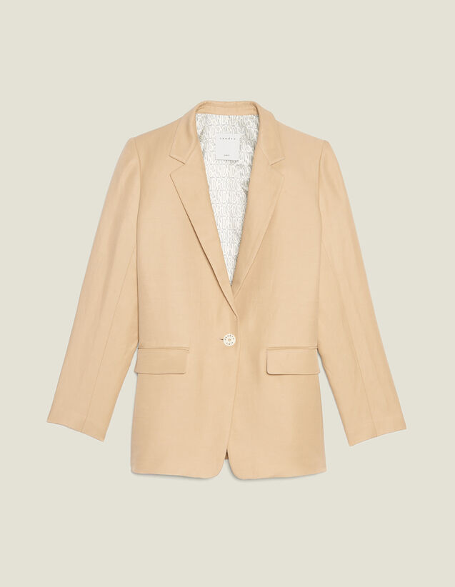 Tailored Jacket With Button Fastening : null color Beige