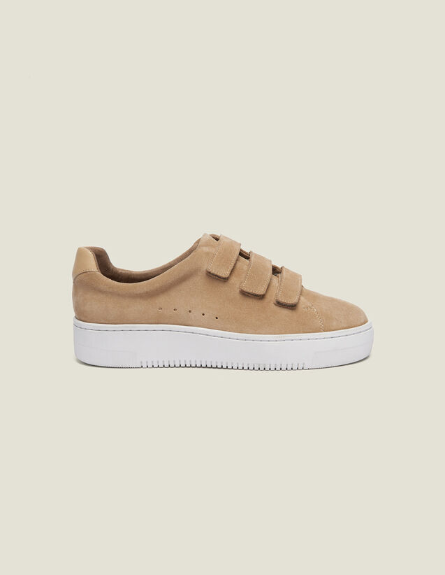 Leather Velcro Trainers : All Shoes color Sand