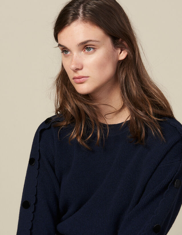 Sweater With Buttons On The Sleeves : LastChance-ES-F30 color Navy Blue