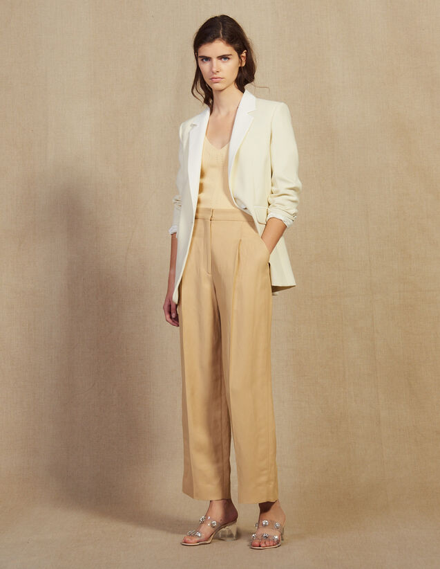 Wide Trousers With Darts : Pants color Beige