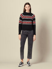 Sweater with geometric jacquard pattern : LastChance-ES-F50 color Rouge/Noir/Ecru
