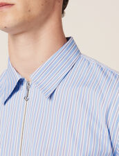 Striped Zipped Shirt : All Selection color Blue