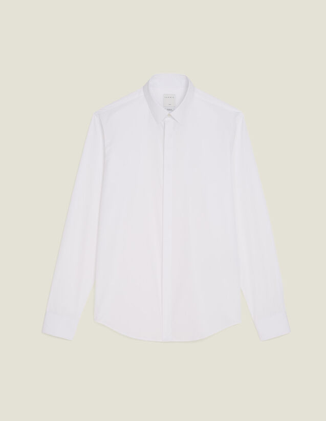 Poplin Shirt With Hidden Placket : Shirts color white