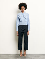 Cropped shirt with removable bow : Tops & Shirts color Blue sky
