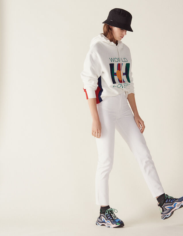 High-Waisted Straight-Cut Jeans : LastChance-FR-FSelection color white