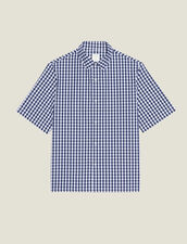 Gingham Shirt In Japanese Fabric : Shirts color Navy Blue