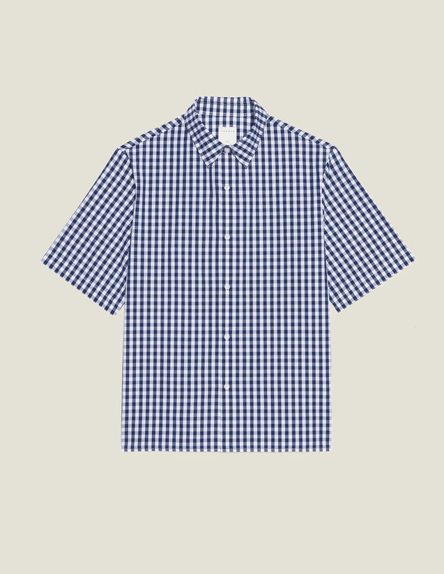 Gingham Shirt In Japanese Fabric : Sélection Last Chance color Navy Blue