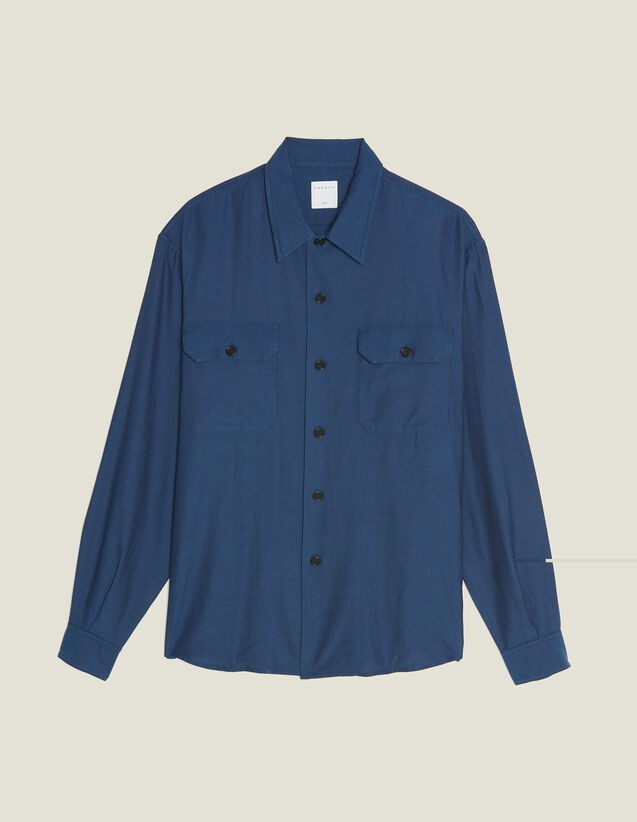 Flowing Herringbone Fabric Shirt : All Selection color Blue