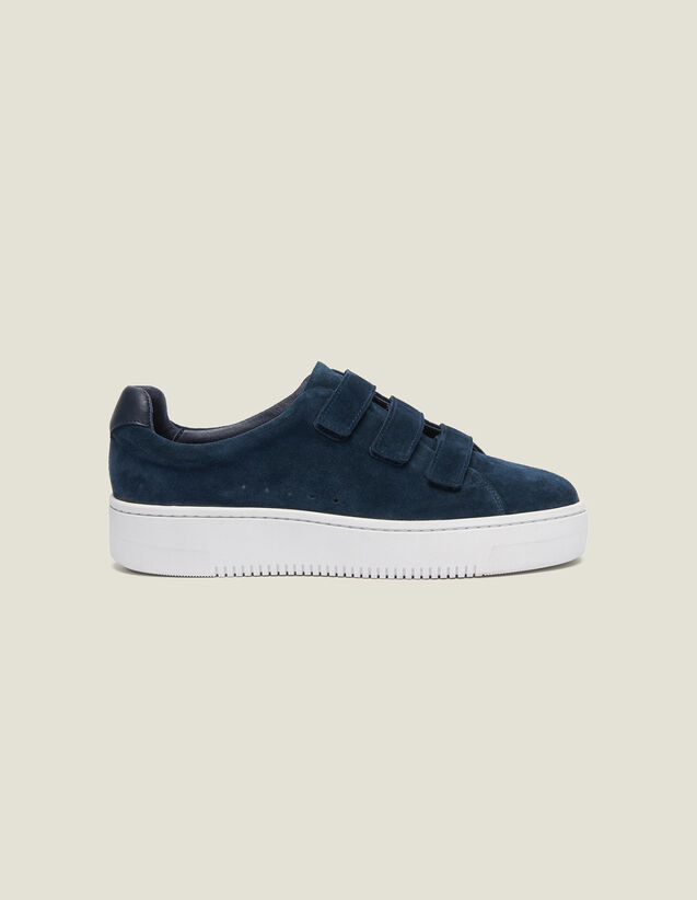 Leather Velcro Trainers : Summer Collection color Navy Blue