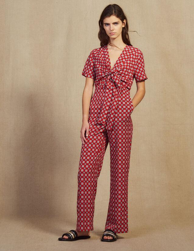 Printed Flowing Jumpsuit : LastChance-FR-FSelection color Red