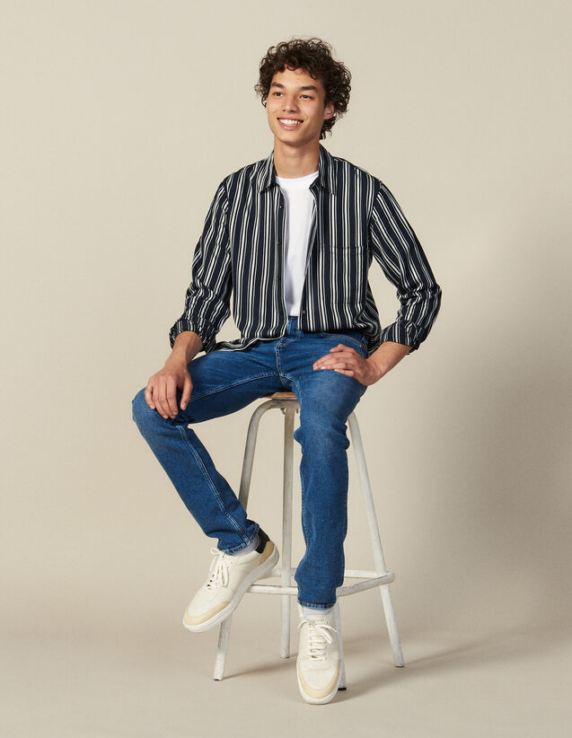 Striped Flowing Shirt : All Winter collection color Navy Blue