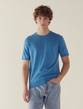 Short-Sleeved Merino Wool Sweater : Sélection Last Chance color Light Blue