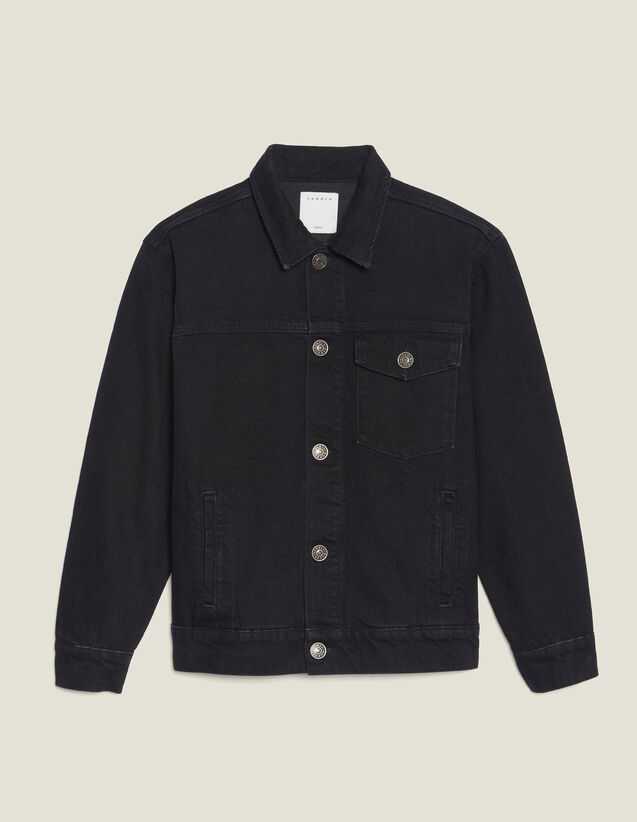 Boyfriend Fit Denim Jacket With Patch : All Selection color Black