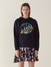 Hoodie Sweatshirt With Sequins : null color Navy Blue