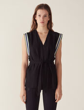 Sleeveless Top With Tie Belt : null color Black