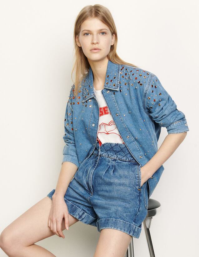 Denim shirt with coloured rhinestones : Tops & Shirts color Blue Jean